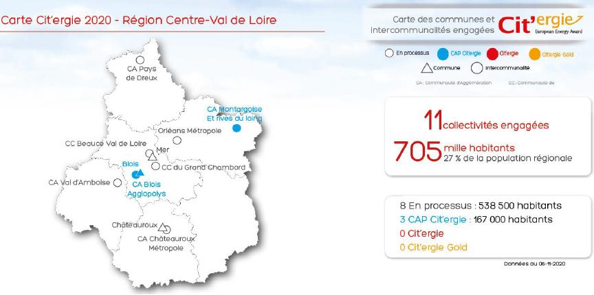 Carte Cit'ergie 2020 pour la région Centre-Val de Loire. Voir descriptif détaillé ci-après