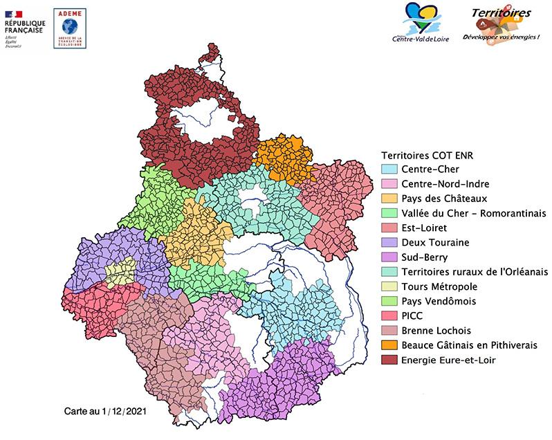 Carte des contrats d'objectifs territoriaux  de développement des énergies renouvelables thermiques (COT EnR) en région Centre-Val de Loire